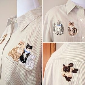 Vintage 80s cats Tia embroidery rhinestones shirt